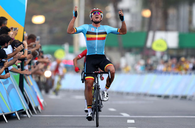 Greg van Avermaet celebrates winning the gold medal